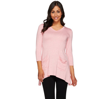 LOGO by Lori Goldstein Heather Knit Top with Asymmetric Hem