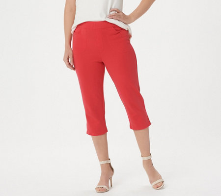 Bob Mackie's Pull-On Knit Crop Pants with Pockets