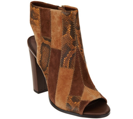 C. Wonder Leather Open Toe Booties with Patchwork Detail - Ivy
