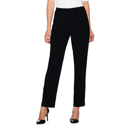 Susan Graver Textured Liquid Knit Pull-on Pants - Petite