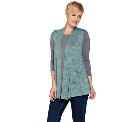 LOGO by Lori Goldstein Space Dye Knit Vest with Satin Trim