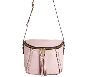 As Is Oryany Pebbled Leather Crossbody Bag With Tassels Kimberly A286454