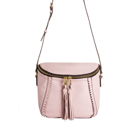 """As Is"" orYANY Pebbled Leather Crossbody Bag with Tassels - Kimberly"