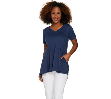 LOGO by Lori Goldstein Cotton Modal Knit Top with Seam Details