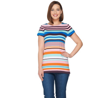 Isaac Mizrahi Live! Engineered Stripe Short Sleeve Tunic