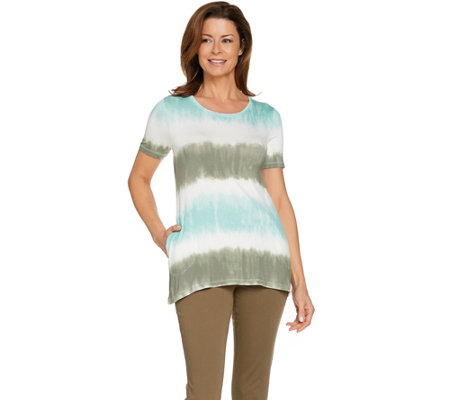 LOGO by Lori Goldstein Print Tie Dye Knit Top with Pockets