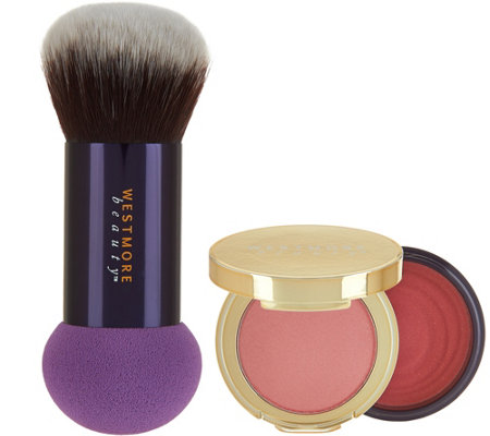 Westmore Double Feature Powder-Over Cream Blush w/ Brush