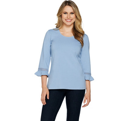 Denim & Co. 3/4 Sleeve Top with Ruffle Cuffs and Lace Trim