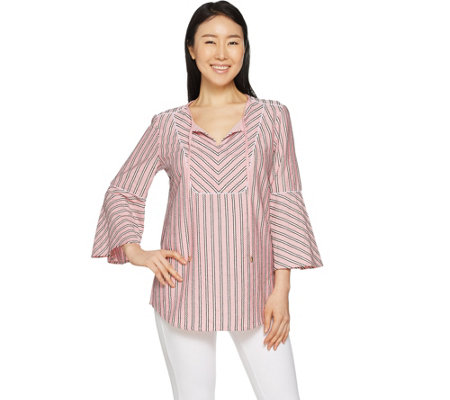 Isaac Mizrahi Live! Striped Split Neck Tunic with Bell Sleeves