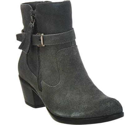 """As Is"" Earth Origins Suede Water Repellent Ankle Boots - Tori"