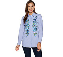 Joan Rivers Striped Shirt With Floral Embroidery - A295854