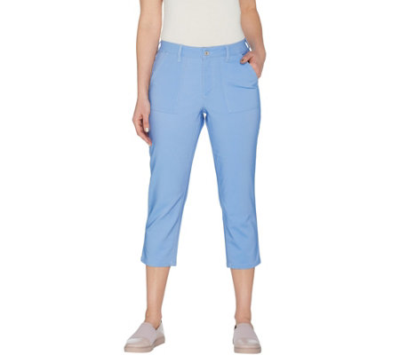 Denim & Co. Regular Stretch Double Weave Crop Pants with Pockets