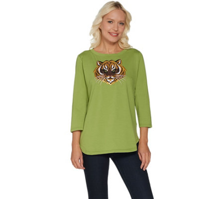 Bob Mackie's Embroidered Sequin Animal Knit T-Shirt