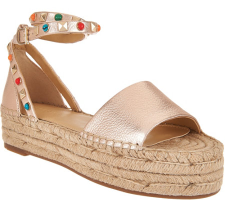 """As Is"" Marc Fisher Leather Espadrilles w/Ankle Strap- Vajen"