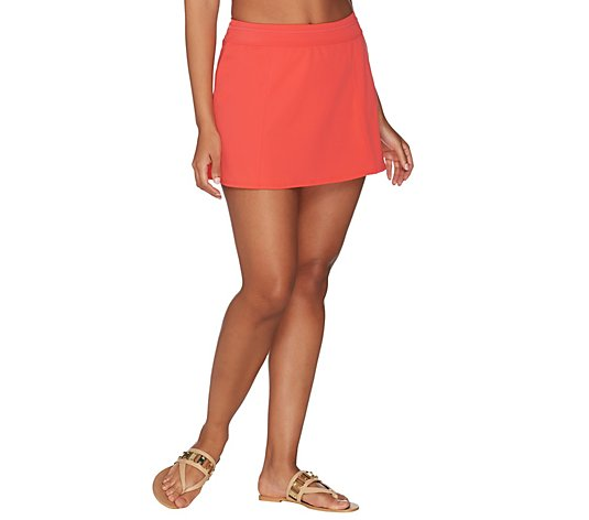 Denim & Co. Beach Swim Skirt with Back Zip Pocket