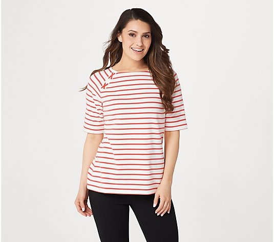 Denim & Co. Active Elbow-Sleeve French Terry Striped Top
