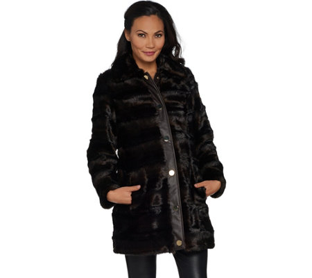 """As Is"" Dennis Basso Platinum Collection Sculpted Faux Mink Coat"