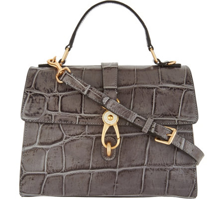 """As Is"" Dooney & Bourke Croco Embossed Leather Satchel Handbag-Claire"