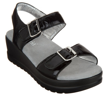 """As Is"" Alegria Leather Multi Strap Wedge Sandals- Morgyn"