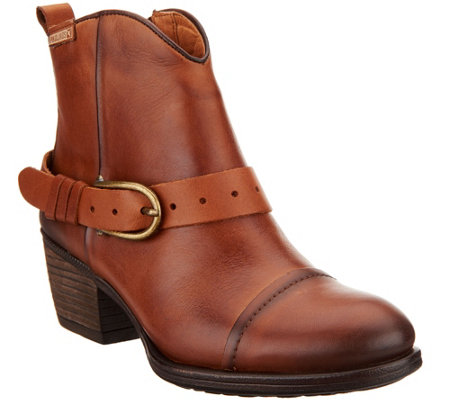 Pikolinos Leather Buckle Ankle Boots Baqueria