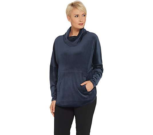 AnyBody Velour Oversized Cowl Pullover Top
