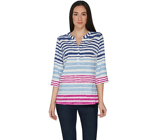 """As Is"" Denim & Co. Watercolor Stripe 3/4 Sleeve Pullover Y-Neck Top"