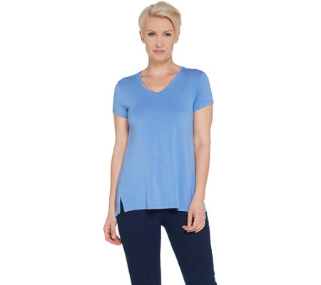 """As Is"" H by Halston Essentials V-Nk Top w/Forward Notch Detail"