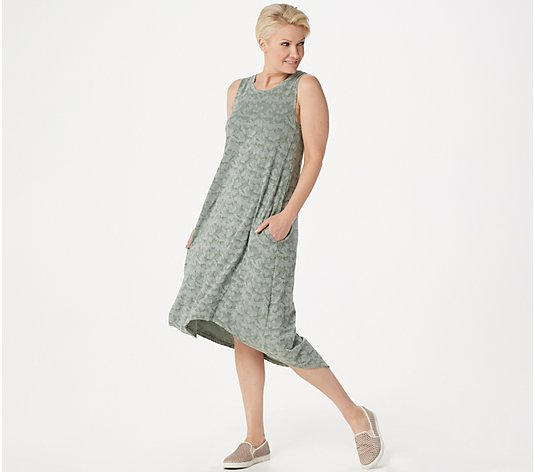 LOGO by Lori Goldstein Jacquard Tank Dress with Asymmetric Hem