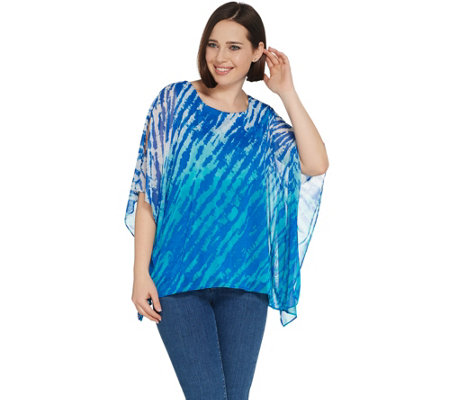 """As Is"" Susan Graver Lined Printed Mesh Scarf Top"
