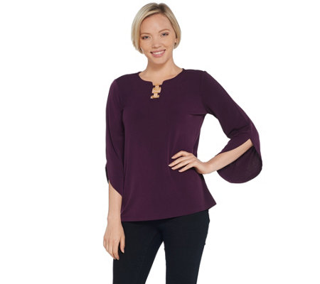 As Is Susan Graver Liquid Knit Top With Tulip Sleeves And Ring Detail