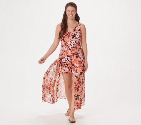 Du Jour Regular Sleeveless Printed Romper W Skirt Overlay