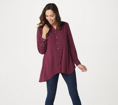 LOGO by Lori Goldstein Stretch Woven Blouse with Asymmetric Hem