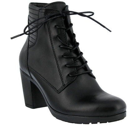 Spring Step Burnished Leather Lace-Up Bootie -Tehoto