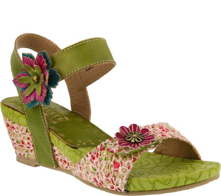 Spring Step L'Artiste Leather and Fabric WedgeSandal - Laisis