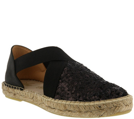 Azura by Spring Step Sequin and Leather Espadrilles - Della