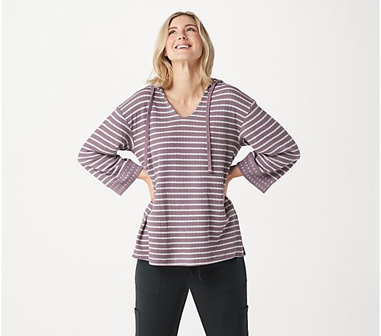 AnyBody Double Knit Striped Hoodie