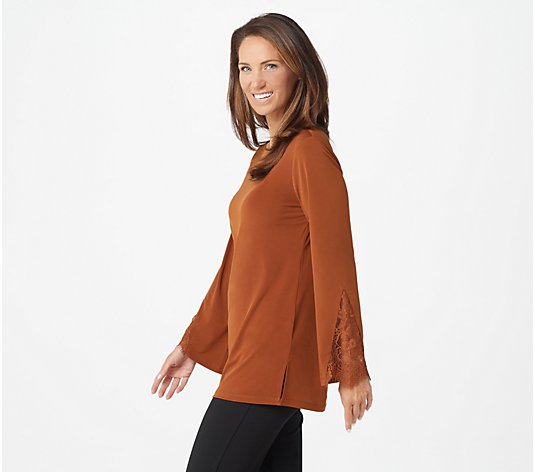 Susan Graver Liquid Knit Bateau Neck Tunic with Lace Insets