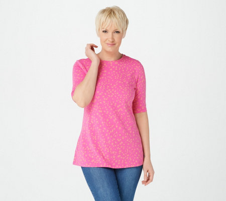 Isaac Mizrahi Live! Appaloosa Dot Elbow Sleeve Knit Top