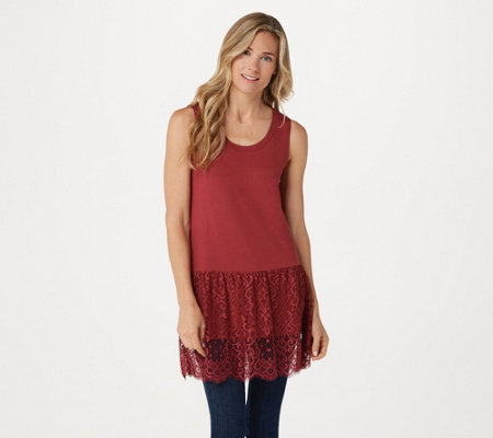 """As Is"" LOGO by Lori Goldstein Knit Tank with Lace Panel Hem"