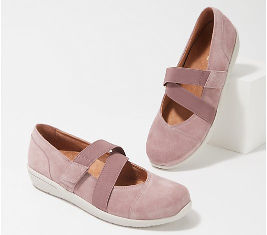 Vionic Suede Mary Jane Slip-on Shoes - Shelby