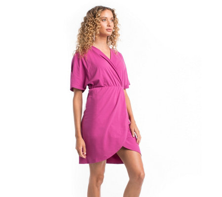 Synergy Organic Crossover-Bodice Dolman-Sleeve Shimmer Dress