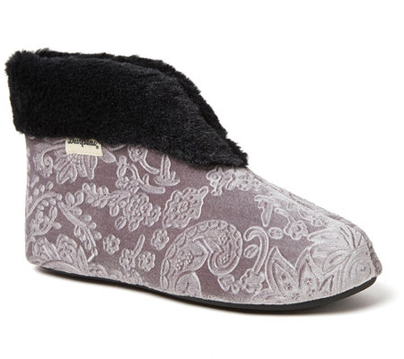 Dearfoams Embossed Luxe Velour Bootie Slippers