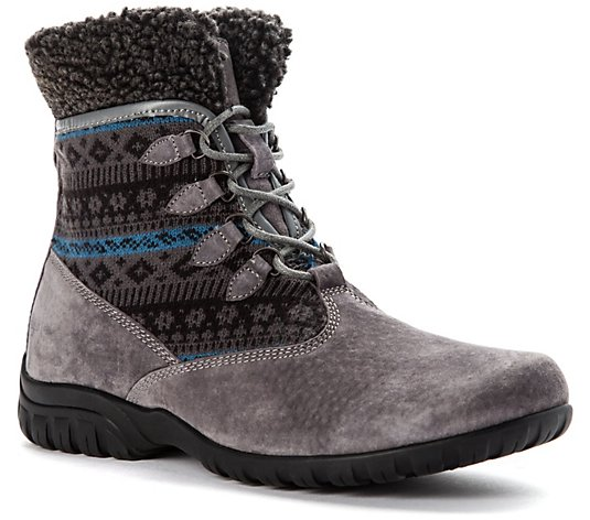 Propet Women's Lace Up Suede And Mesh Booties -Delaney Alpine