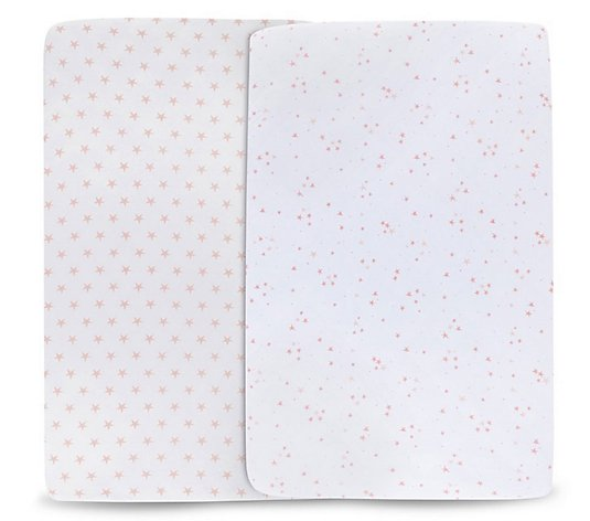 Ely's & Co. Set of 2 Pink Soft Jersey Cotton Crib Sheets
