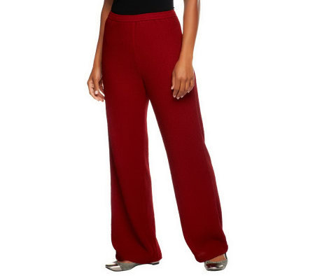 Bob Mackie's Regular Fit Elastic Waist Crinkle Knit Pants