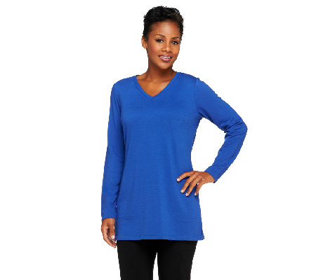 Denim & Co. Essentials French Terry V-Neck Tunic w/ Pockets