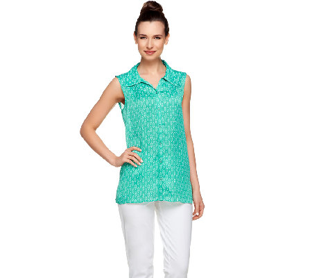 Susan Graver Woven Sleeveless Button Front Top