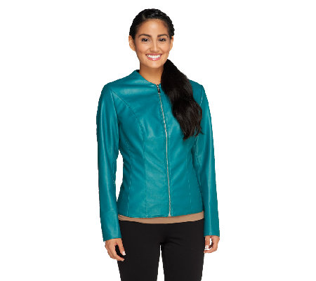 Mark of Style by Mark Zunino Faux Leather Jacket with Seam Details