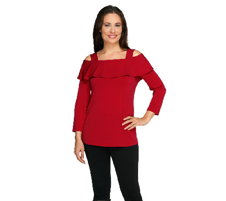 Susan Graver Liquid Knit Long Sleeve Foldover Collar Top