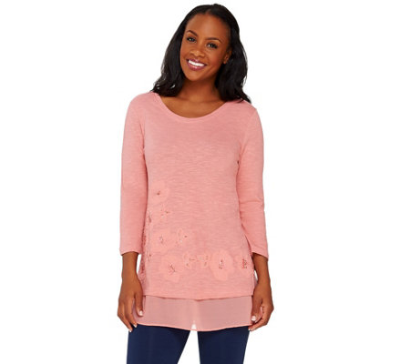 LOGO by Lori Goldstein Slub Knit Embellished Top with Trim